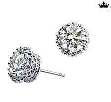"Super Fashion ""Crown"" 925 Sterling Silver 2.0 Cts Cubic Zirconia Earring Stud"