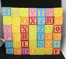 Vintage Lot of Wooden Alphabet Blocks 42 With Linen Bag