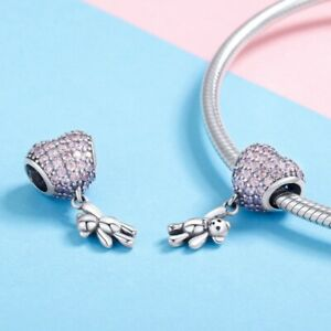 DIY European 925 Silver Pink Love Heart Pendant Charm Bead Fit Bracelet Women
