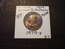 Rainbow Tone Gold & Purple Colors 1979-P Susan B. Anthony Dollar  Gem  B-7