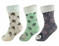 Ladies Sherpa Lined Animal Lurex Glitter Slipper Socks with Grippers
