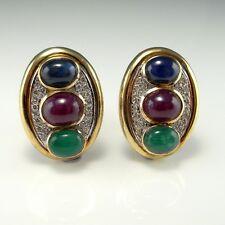 Large BIG Diamond Cufflinks Cuff Links 14K Gold Ruby Emerald Sapphire Cabochon