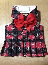 Hand Made Dog Harness Vest Red Black Silver Plaid Christmas Dress 2381 XXS