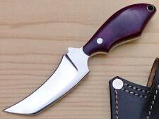 "Custom Made J2 Steel 6"" Clinch Pick Neck knife Micarta Handle Leather Sheath"
