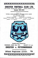 Football Programme>CHESTER v PETERBOROUGH UNITED Mar 1974