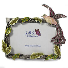 Bejeweled bird of paradise photo frame, enamel painted with crystals in rose