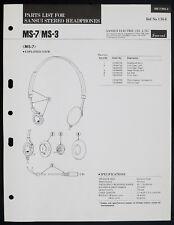 SANSUI MS-7 MS-3 Original Stéréo Casque écouteurs pièces list O153
