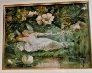 Beatrix Pollitt Watercolour Fairy/Winged Beauty Pre-Raphaelite Manner Manchester
