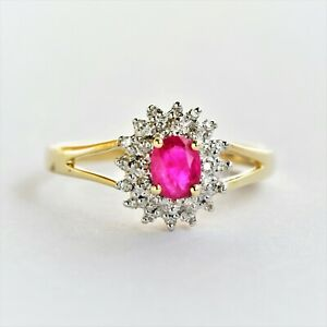 NATURAL RUBY RING GENUINE DIAMONDS 9K GOLD SIZE P JULY B'IRTHSTONE GIFTBOXED NEW