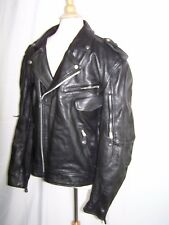 XELEMENT Men's XL Classic Black Leather Rocker Motorcycle Jacket Zip-Out Lining