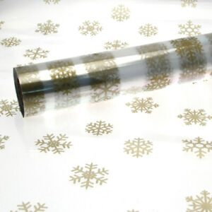 Christmas Cellophane Large Gold Snowflake Pattern 1M - 100 Meters Gift Wrapping