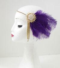 Purple Gold Ivory Feather Headpiece 1920s Flapper Headband Great Gatsby Vtg 108