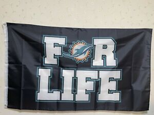 Miami Dolphins FOR LIFE Flag 3X5 FT NFL Banner Polyester FAST SHIPPING!!!