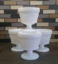 Set of 4  Vintage Milk Glass pedestal sherbet /dessert cups