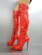 MORI ITALY PLATFORM HEELS OVERKNEE BOOTS STIEFEL STIVALI LEATHER RED ROSSO 42
