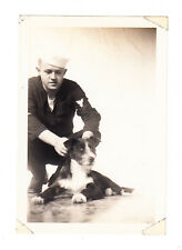Vintage Photo Handsome Sailor Navy Uniform Military Man WW2 Home Visit Dog Buddy
