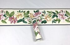 Seabrook Wallpaper Border Floral Large Pink Bloom Beige Blue Vine Navy Trim