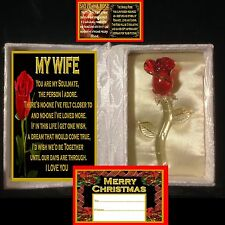 MY WIFE VERSE GLASS ROSE IN SATIN BOOK GIFT LOVE CARD TAG CHRISTMAS I YOU B