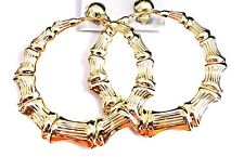 CLIP-ON EARRINGS CLIP BAMBOO HOOP EARRINGS GOLD OR SILVER TONE LARGE 3 INCH