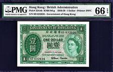 Hong Kong 1959 One Dollar Pick-324Ab GEM UNC PMG 66 EPQ