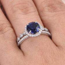 Neues Angebot2.26 Karat Runde Edelstein Saphir Natürlicher Diamant 14Kt Echt Weißgold Eu 5 6