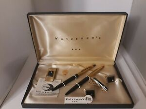 Vtg Waterman's Pen Set Cufflinks-Pin Tie-Money Clip 1950's 24 KT Gold Plated NOS