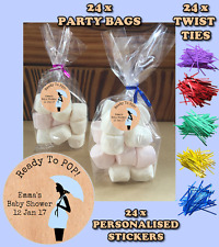 24 Personalised Ready To Pop Baby Shower Vintage Party Gusseted Favour Bags D1