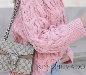 ZARA Pink Oversized Cable Knit Chunky Sweater Jumper L BNWT  BLOGGERS FAVOURITE