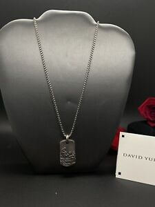 David Yurman Men's Waves Collection Tag  35mm In Sterling Silver, Box Chain 2.7
