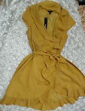 RUFFLE WRAP APT.9 NN12908 Yellow Sz 10 Solid Casual Sleevel Asymmetrical Hem ruf