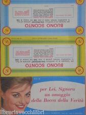 Vecchio buono sconto 50 e 30 lire DENTRIFICO CHLORODONT 1964 foto VIRNA LISI di