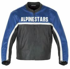 Alpinestars Barcelona Leather Motorcycle Jacket-Blue/Blk EU54/US 44 L/XL-In Stk