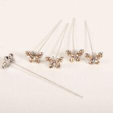 Faux diamond diamante Butterfly pins x 5 Gold