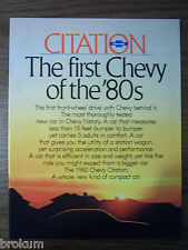 MINT CHEVROLET 1980 CHEVY CITATION 23 PAGE SALES BROCHURE   NEW (BOX 605)