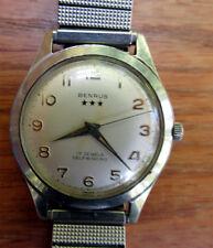 Vintage 1950s Benrus three star men's self winding automatic watch ; runs