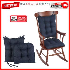 Rocking Chair Cushions Set Non-Slip Pad Cover Seat Outdoor Rocker Solid Indigo