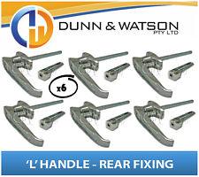 Chrome Plated Rear Fixing 'L' Lock / Handle (Trailer Caravan Canopy Toolbox) x6