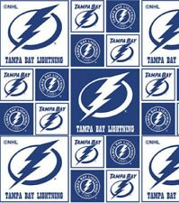 TAMPA BAY LIGHTNING NHL HOCKEY 100% COTTON FABRIC MATERIAL CRAFT BY THE 1/2 YARD