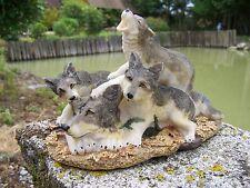 MO0258   FIGURINE  STATUETTE FAMILLE   LOUP    ANIMAL SAUVAGE FORET