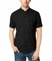 New INC Mens Button Down Shirt Black Size Small Banded Collar NWT MSRP $49 A0220