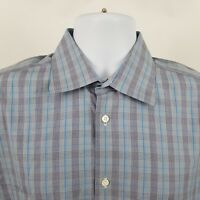 IKE Behar Mens 120's 2 Ply Gray Blue Check Plaid L/S Button Shirt Sz 16.5 34/35