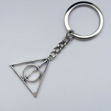 Tibetan Silver deathly hallows metal Keychain pendant Film Movie Harry potter