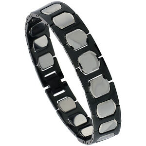 Tungsten Carbide & Ceramic Bracelet,2-Tone (Gun Metal & Black) H & Cushion Links