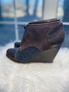 Anthropologie Plenty By Tracy Reese 38.5 7.5  Leather Wedge Bootie Boots