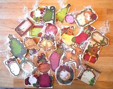 22 Handmade Vintage Style Christmas Glittered Gift Hang Tags Bells Fireplace etc