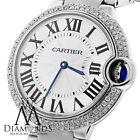 Cartier Ballon Bleu W69011Z4 Watch Pave Diamond Bezel 37mm Stainless Steel