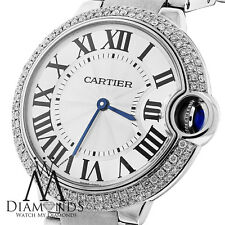 Cartier Ballon Bleu W69011Z4 37mm MidSize Watch Pave Diamond Bezel w/ Box&Papers