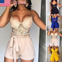 New Women Ladies Lace Clubwear Shorts Playsuit Bodycon Party Jumpsuit&Romper US