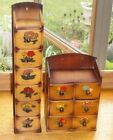 Two+Vintage+Wooden+Sewing+Notions+Boxes+Cabinets+with+Drawers