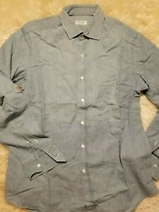 NWT $400 SALVATORE PICCOLO  CHAMBRAY ALL HAND MADE IN ITALY 16.5 COTTON LINEN